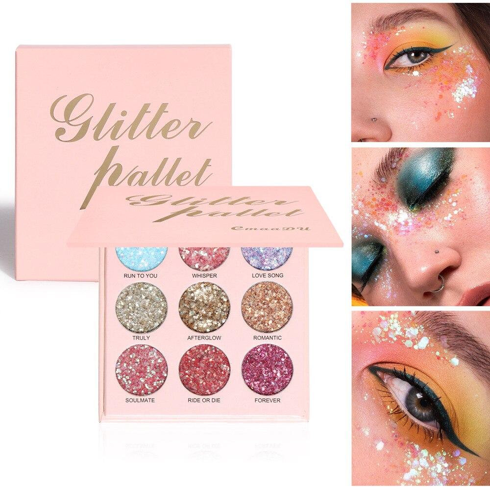 9 Colors Glitter Eyeshadow Palette Shimmer Mermaid Sequin Gel Cream Eye Shadow Pigment Waterproof Eyes Makeup недорого