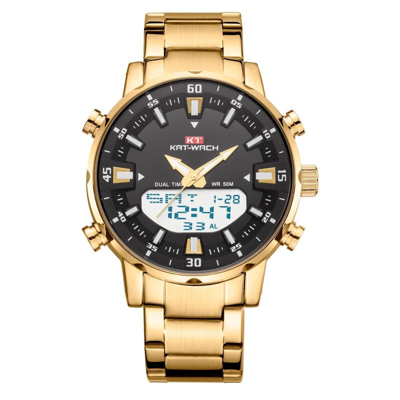 Kt1815 cinto de aço relógio masculino duplo núcleo máquina luminosa grande dial relógio à prova dwaterproof água