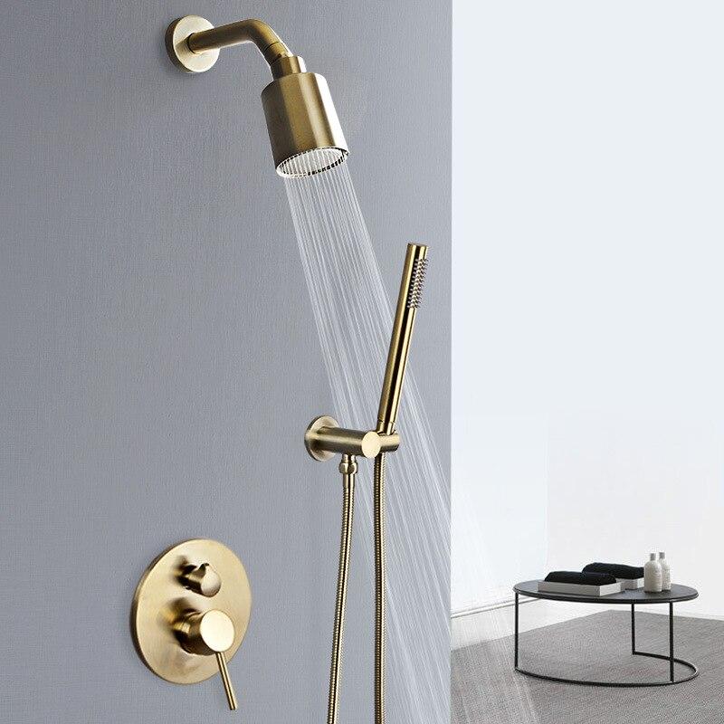 حنفية حمام نحاسية مثبتة على الحائط مع دش مطري ، وخلاط دش مطري ، وحنفية حمام نحاسية ساخنة وباردة