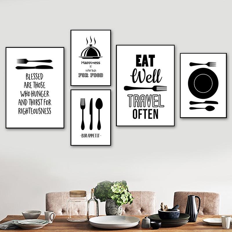 Cartel de pintura artística de menaje de dibujos animados en blanco y negro e impresión de cuchillo y tenedor, imágenes de pared para cocina, decoración moderna para el hogar YX198