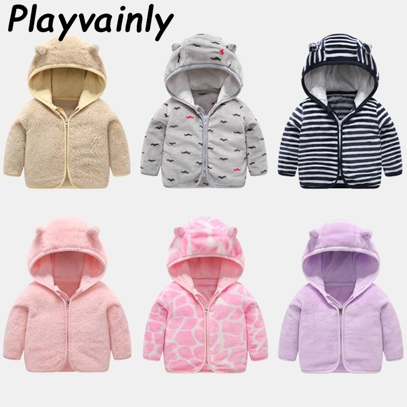 Baby Autumn Winter Coat Toddler Girls Boys Coral Fleece Thick Hooded Coat Jackets Kids Winter Clothe