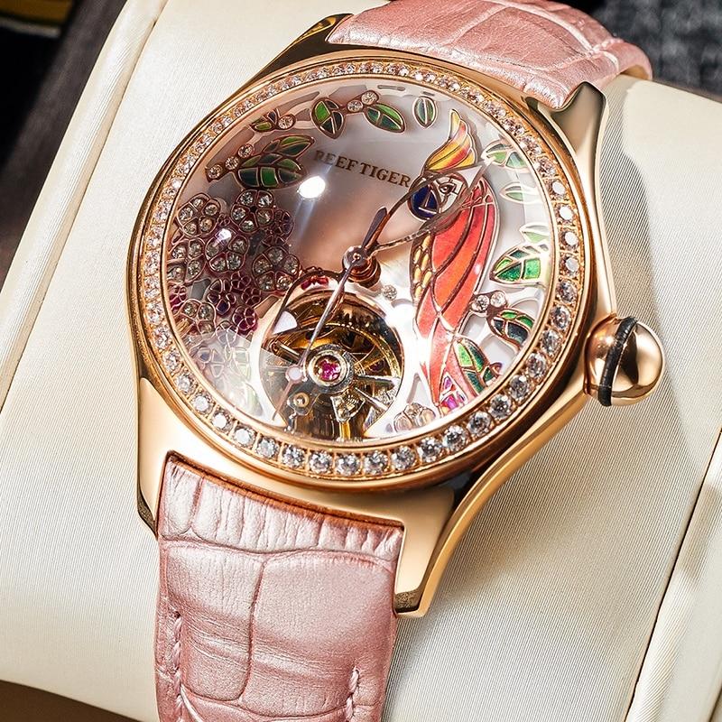 ريف النمر/RT إمرأة فاخر موضة ساعات الماس التلقائي توربيون ساعة جلدية حزام ساعة Relogio Feminino RGA7105