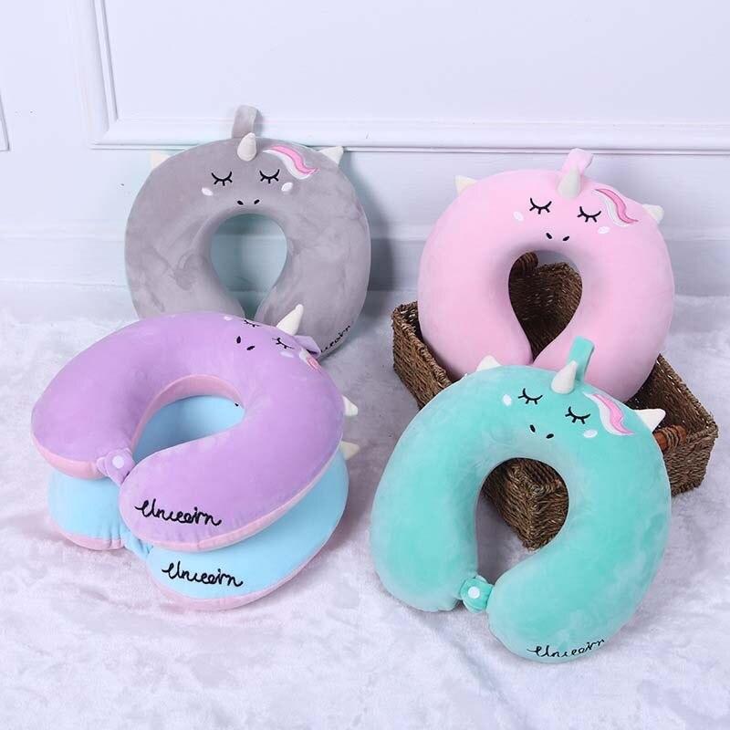 Cartoon Unicorn U Shaped Travel Pillow Car Air Flight Inflatable Pillows Neck Support Headrest Cushion Soft Memory Foam Pillow