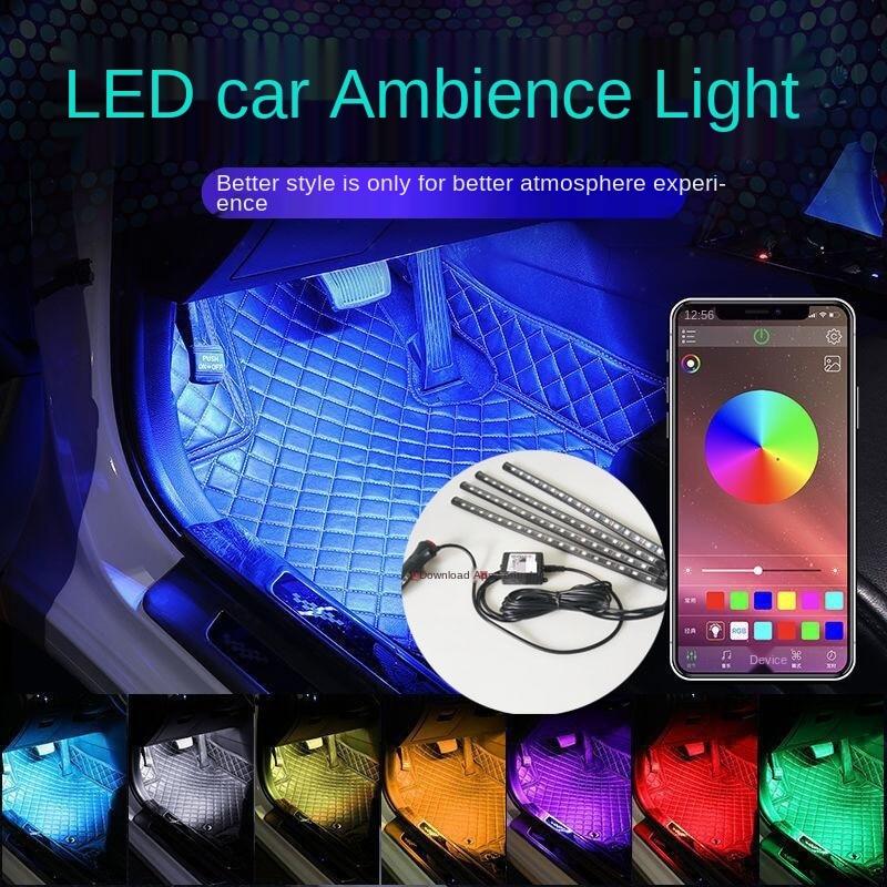 Один-четыре приложение Автомобильный ножной светильник Автомобильный светодиодный декоративный светильник s Красочные Голос Управление п...