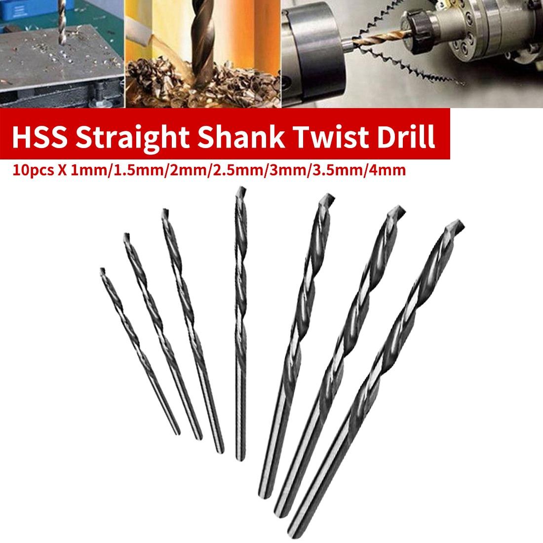 Os bocados de broca retos da torção da broca dos pces hss da pata 10 ajustam-se para o pwb/alumínio fino/folha do ferro 1mm/1.5mm/2mm/2.5mm/3mm/3.5mm/4mm