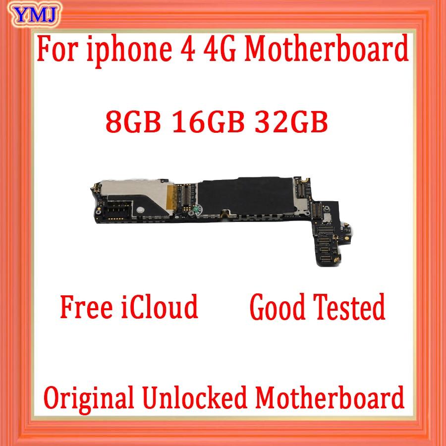Placa base de 8GB /16GB /32GB para iphone 4 100% Original con Chips para iphone 4 4G Placa base con Sistema IOS desbloqueado iCloud