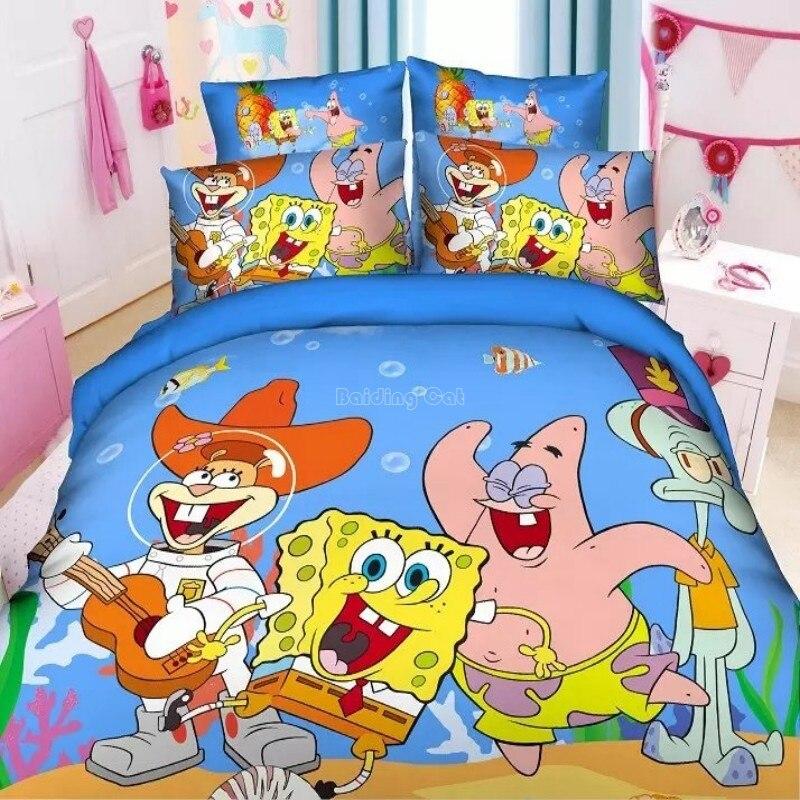 Juego de cama con estampado de Bob Esponja y Patricio con estampado de personajes, funda de edredón de Batman y los Minions de dibujos animados, funda de almohada, tamaño King Size