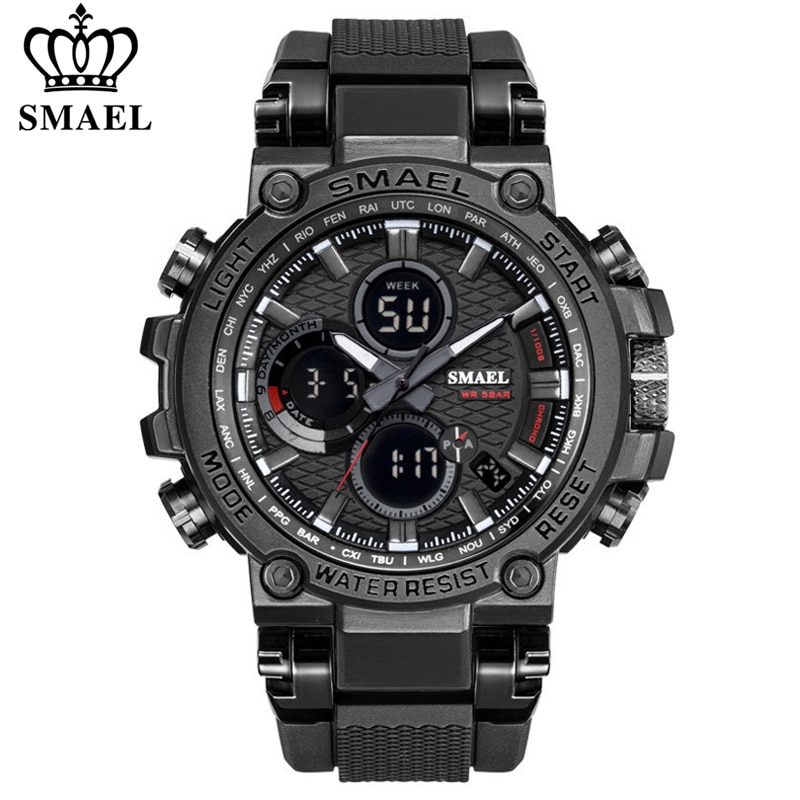 SMEAL Men Sport Watches Digital Double Time Chronograph Watch Mens LED Chronometre Week Display Wris