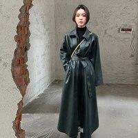 personality long pu leather windbreaker coat 2020 autumn women loose tie belt collect waist single breasted split long jacket
