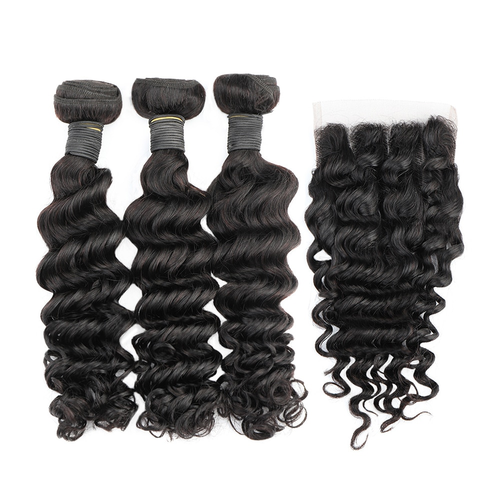 3 1 fasci di capelli ad onda profonda Bliss smeraldo 100% vergine brasiliana estensione dei capelli umani fasci di tessuto fasci di onde profonde con chiusura
