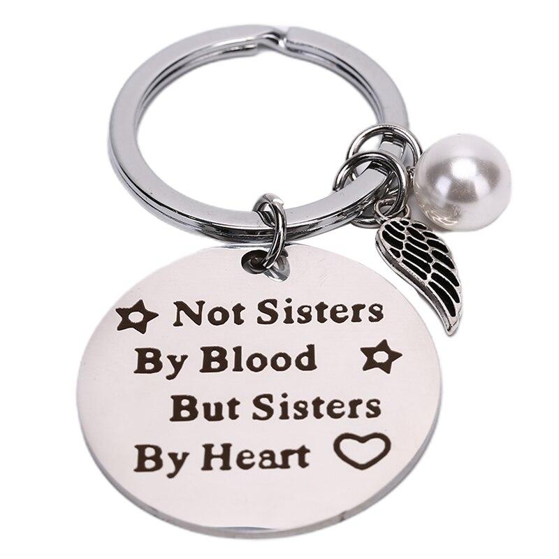 """""""Não irmãs pelo sangue"""" presente da jóia da amizade para mulheres meninas melhores amigos chaveiro"""