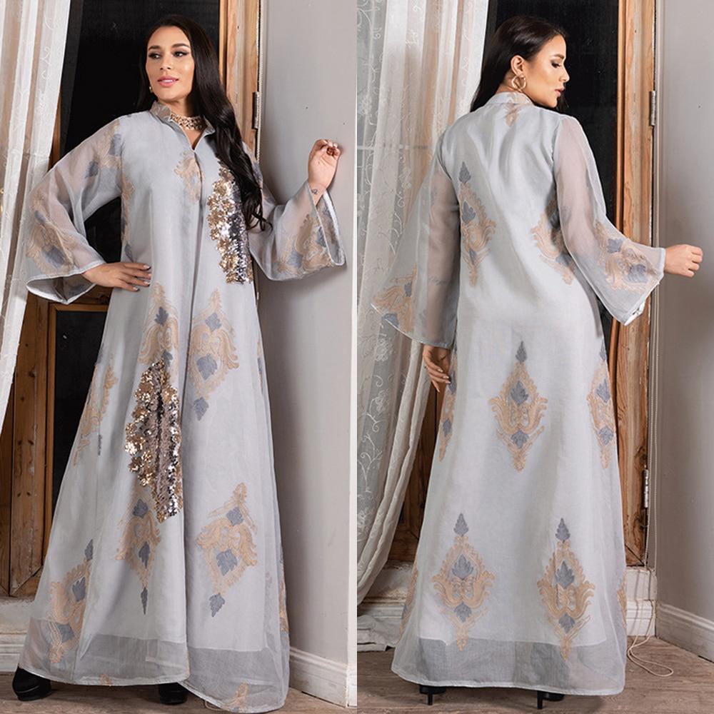 MD 2021 عبايات نسائية دبي قفطان إسلامي مطرز بالترتر فساتين أنيقة مقاس كبير ملابس إسلامية بوبو أفريقية كيمونو