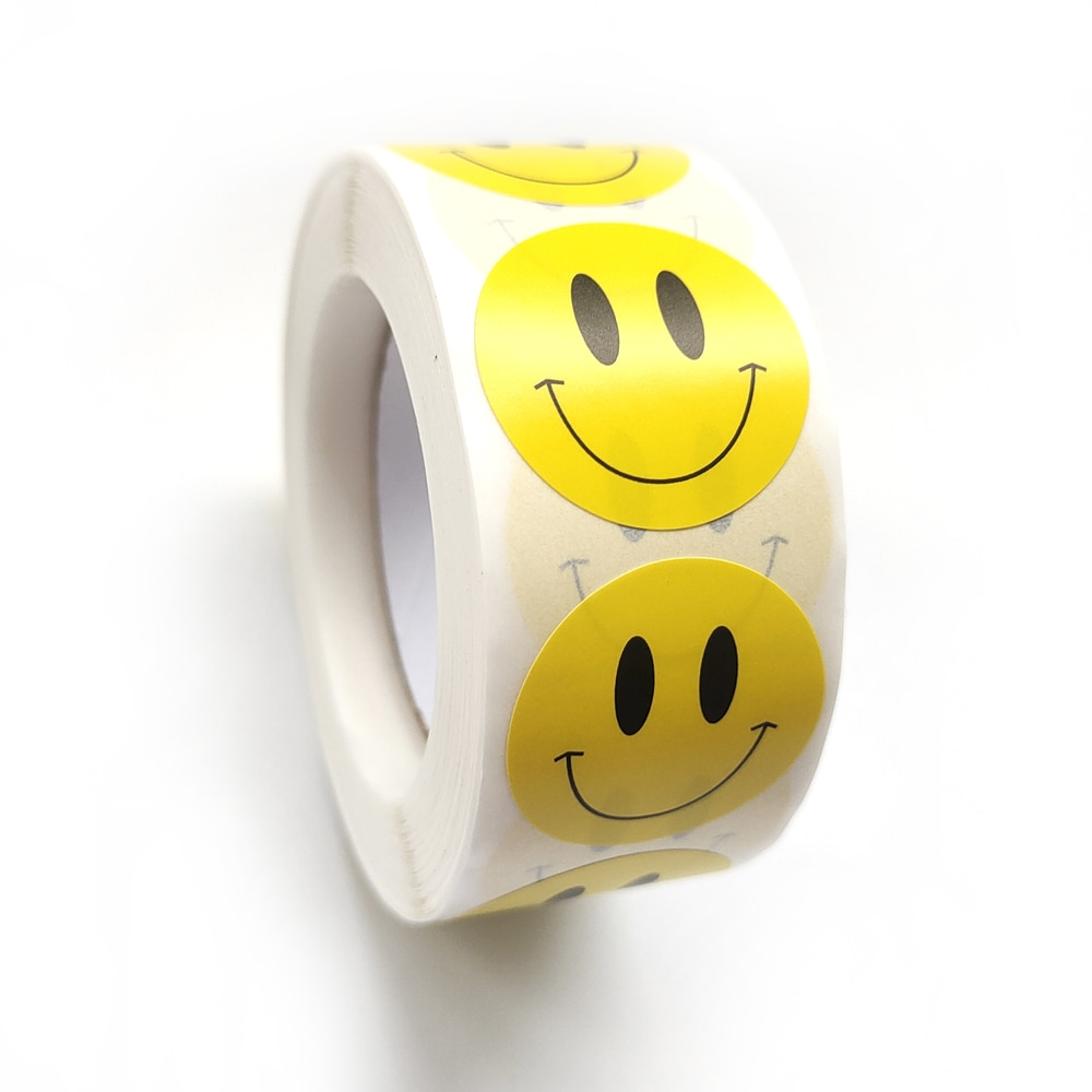 Наклейка-со-смайликом-для-детей-500-шт-рулон-наклейка-для-награждения-желтые-точки-наклейки-счастливая-улыбка-наклейка-для-лица-детские