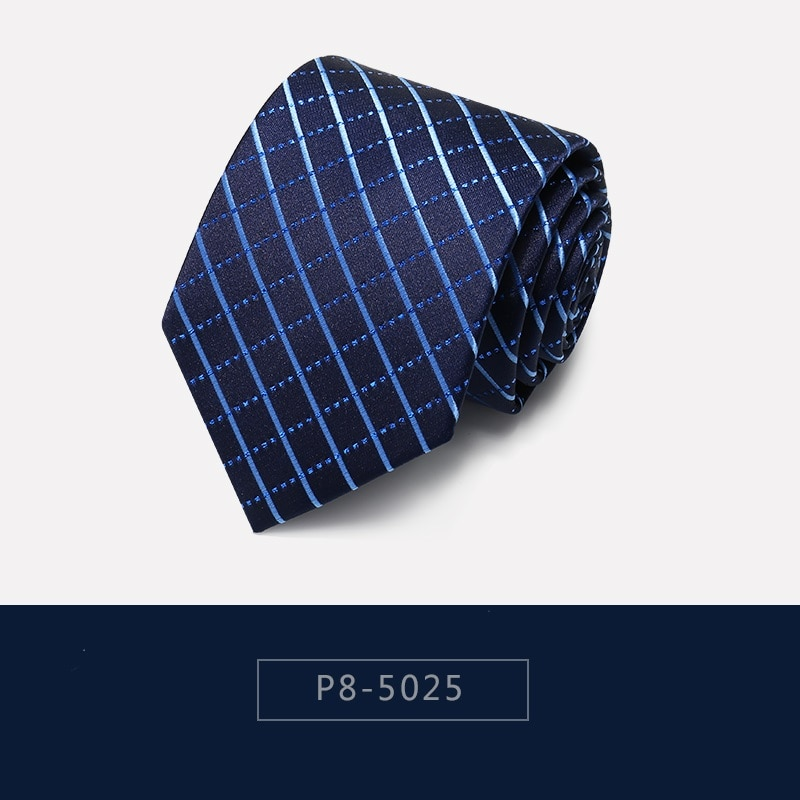 High Quality 2020 Designer New Fashion Blue Plaid Navy Blue Pattern 8cm Ties for Men Necktie Business Formal Suit with Gift Box