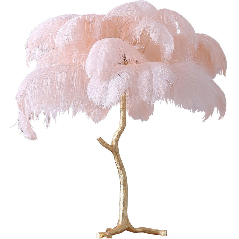 Lámpara de mesa de pluma de avestruz, lámpara de escritorio de cobre moderna, iluminación para el hogar, sala de estar, Hotel, envío gratis