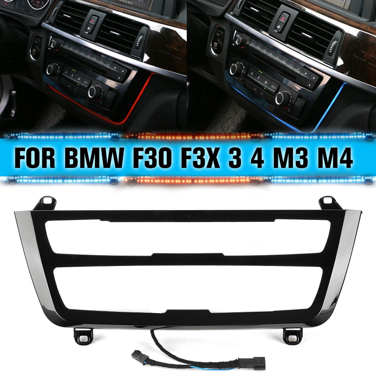 Для BMW 3 и 4 серии F30 M3 M4 LCI радио отделка LED приборная панель центральная консоль AC панель светильник синий оранжевый 2 цвета атмосферный свети...