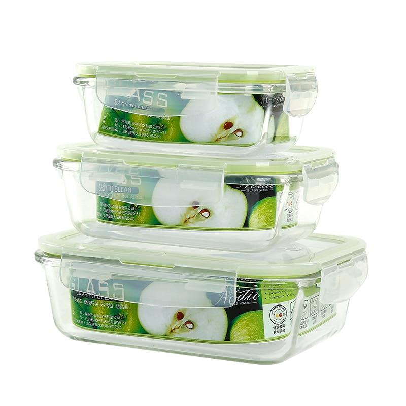 الطازجة عاء 2 قطعة الزجاج المقاوم للحرارة الحفاظ مربع الميكروويف الغداء مربع تخزين مربع الزجاج عاء الغداء مربع ونتشبوكس المطبخ