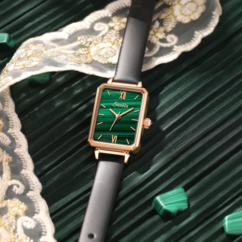 SUNKTA Retro Watches Women Fashion Exquisite Green Quartz Watch Ultra-thin Vintage Leather Wristwatch Simple Small Female Clock enlarge