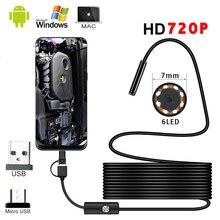 1M 1,5 M 2M 3,5 M 5M Mini 5,5mm endoscopio 720P 360 Cámara impermeable portátil inspección boroscopio cámara para teléfono móvil Android