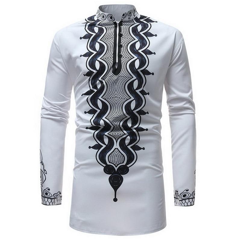 Camiseta de manga larga para hombre, camiseta ajustada para hombre, camiseta Casual con cuello redondo, ropa Africana sólida, verano, estampado africano blanco