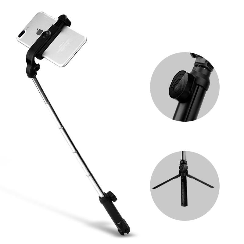 Inalámbrica Bluetooth selfie stick mi ni trípode extensible Monopod para iPhone Samsung mi HuaWei teléfono inteligente de rotación de 360 grados