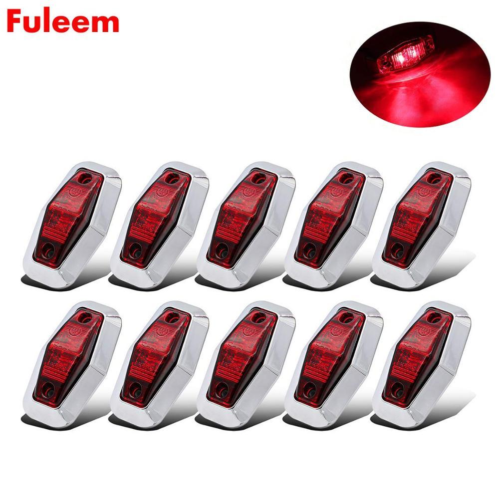 Fuleem, 10 Uds., bisel cromado, pantalla de 2,5 pulgadas, LED, camioneta roja, montaje en superficie para remolque, lámpara de luz con indicador lateral, 12v, 24v, resistente al agua