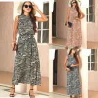 summer 2021 zebra pattern sandy beach bohemia sleeveless dress long dress women fashion dress casual o neck shirt dress
