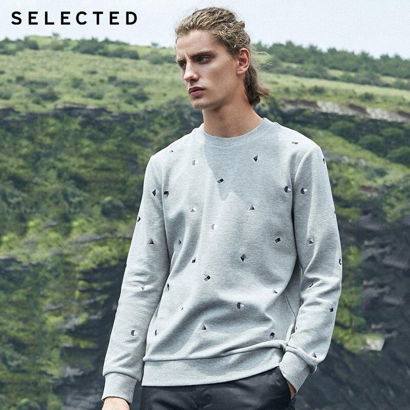 SELECTED winter Mens embroidery casual hoodies Sweatshirt 41934D503