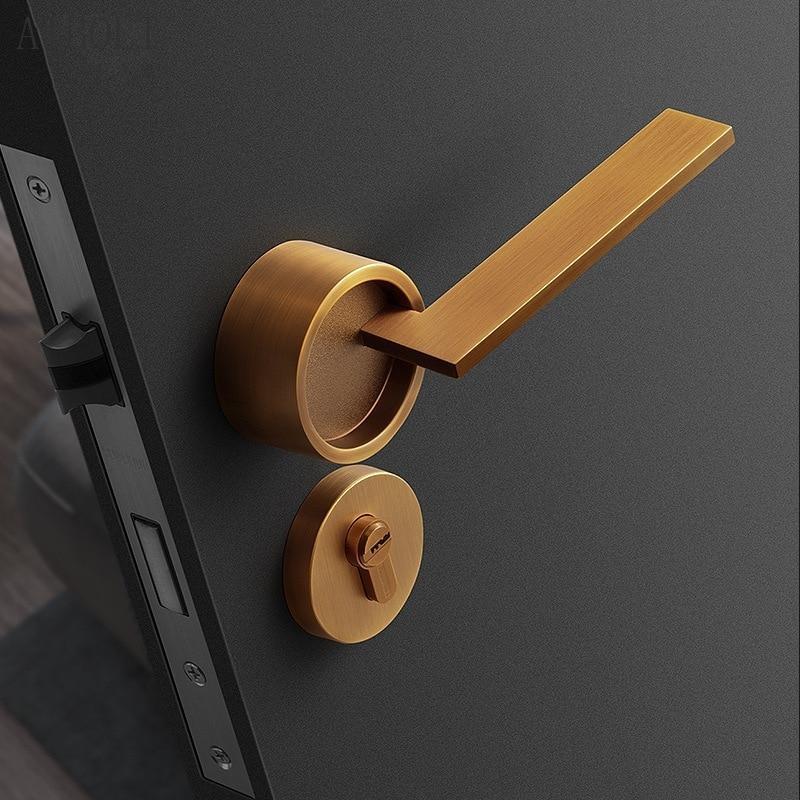 غرفة نوم قفل الباب ، داخلي صامت الميكانيكية قفل باب خشبي ، الحديثة بسيطة الأصفر البرونزية قفل باب أمريكي مقبض