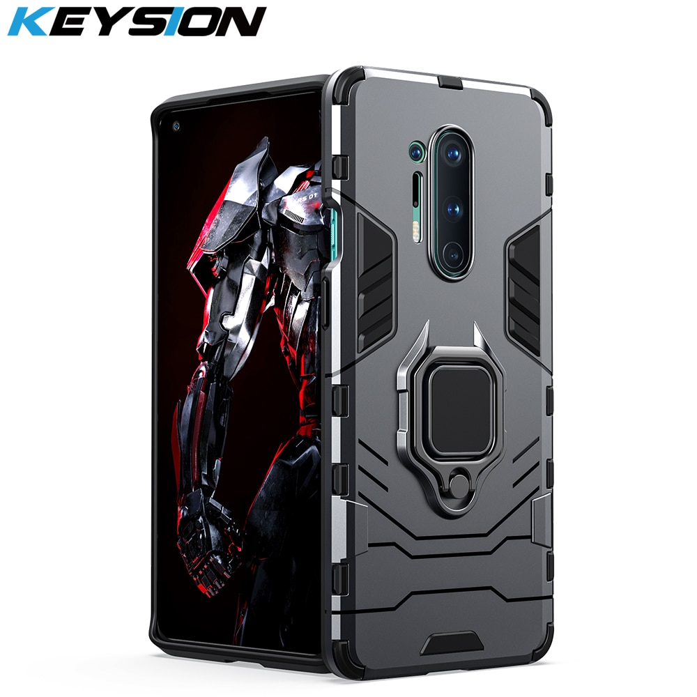 KEYSION Shockproof Armor Case For Oneplus 8 8 Pro 8T 7 7 Pro 7T Pro Ring Stand Back Phone Cover for