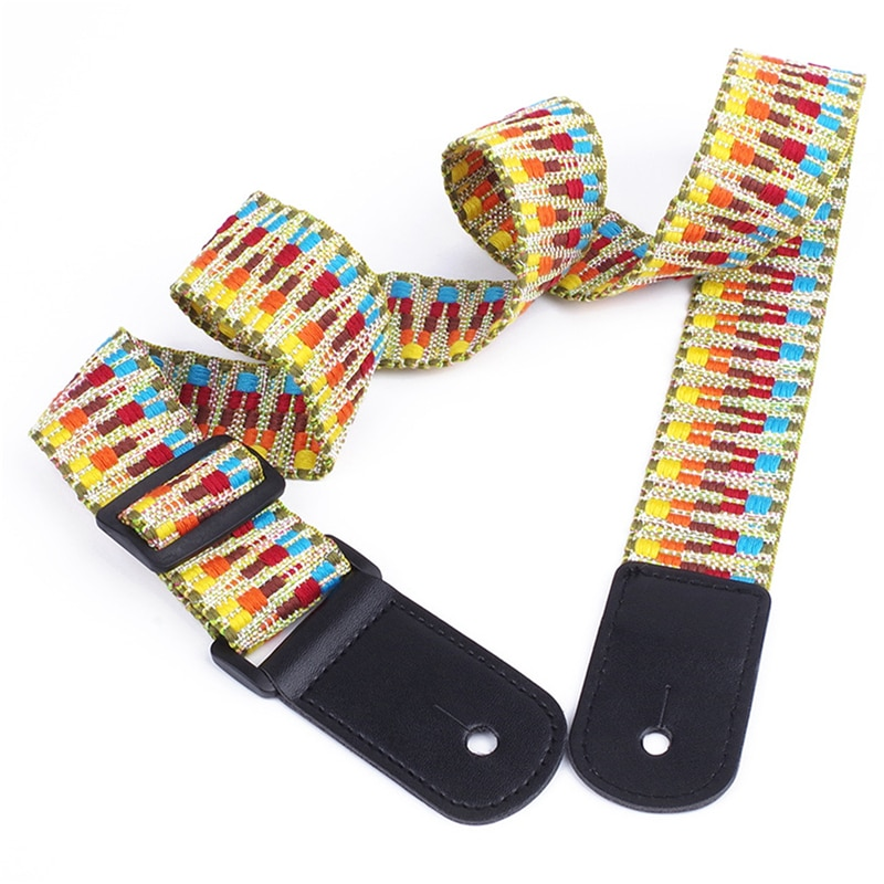National Style Handmade Braided Guitar Adjustable Ukulele Strap Belt With PU Leather Ends Musical Instrument Guitar Accessories