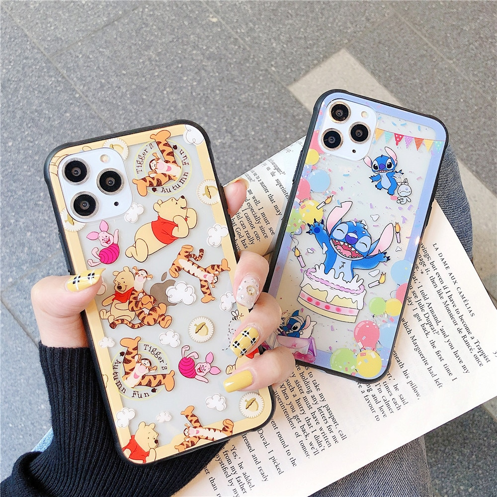 De dibujos animados lindo Punto de cristal templado de teléfono caso para iphone 11 Pro Max 6 6 plus 7 8 plus X XR XS MAX Tigger oso cubierta transparente