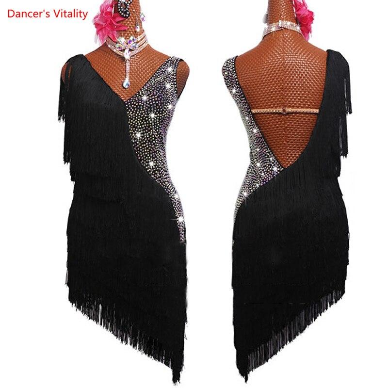 Vestido Latino para mujer, vestido de baile con diamantes de imitación, vestido negro con borlas de flecos, vestido de Rumba, competición, traje de Salsa, vestido de Gatsby