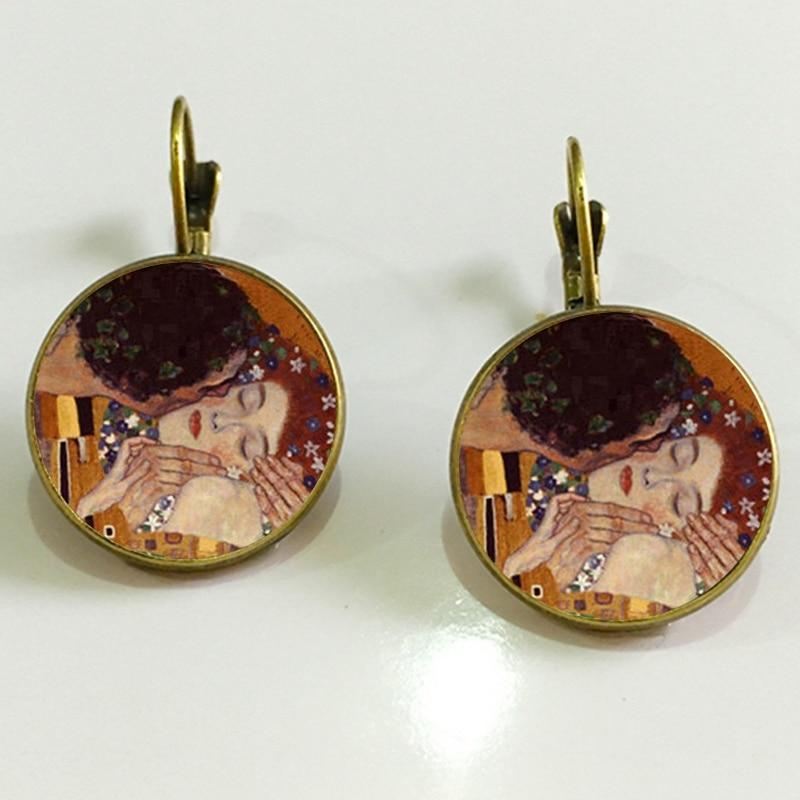 Классические серьги Gustav Klimt The Kiss, ювелирные изделия, винтажные 18 мм круглые стеклянные куполообразные серьги для женщин, ювелирные изделия, Прямая доставка