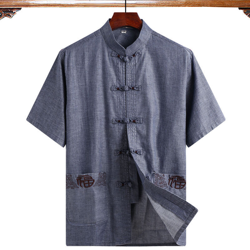 Traje Tang de Lino para hombre, camisa de manga corta, camisa para...