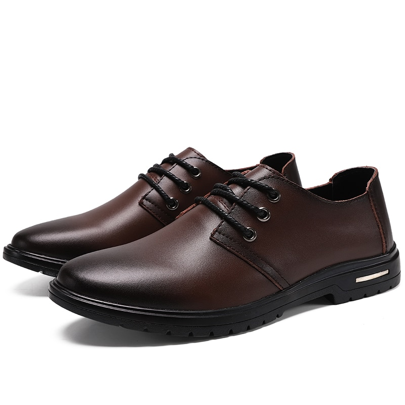 High Quality Lace-up Leather Men Shoes New Spring Work Safety Casual Shoes Hot Sale Flat Loafers Sap