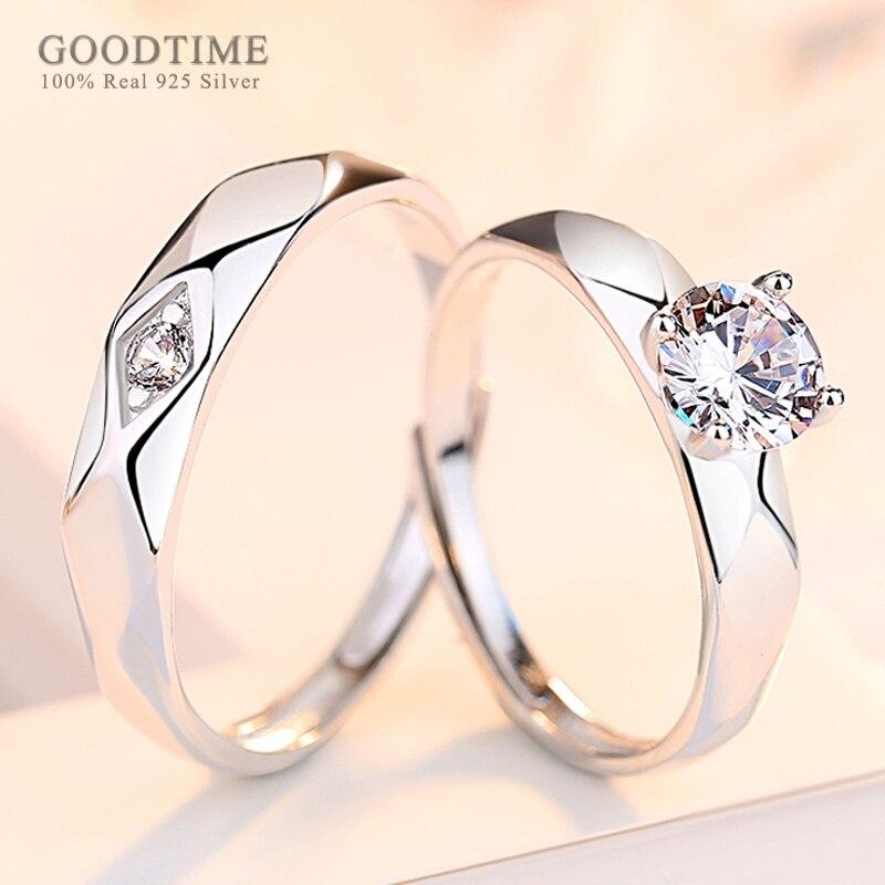Anillos de boda de moda anillos de plata de ley 925 auténtica anillo de perforación de zirconio anillos de joyería de pareja regalo de San Valentín anillos nobles para amante