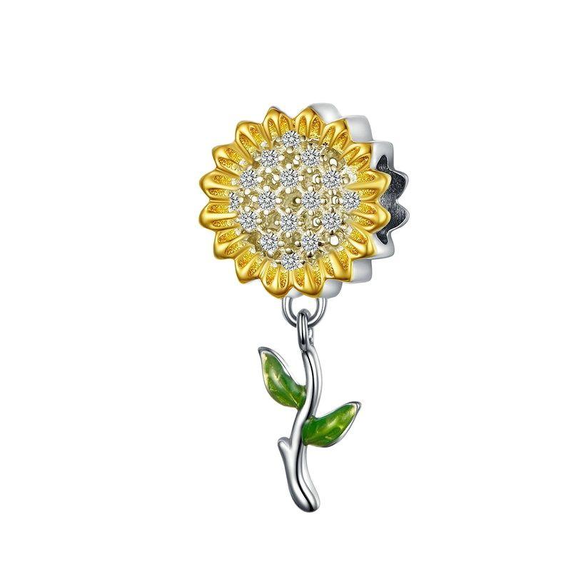BAMOER-abalorio de girasol de Color dorado párr mujer de pulsera de plata...