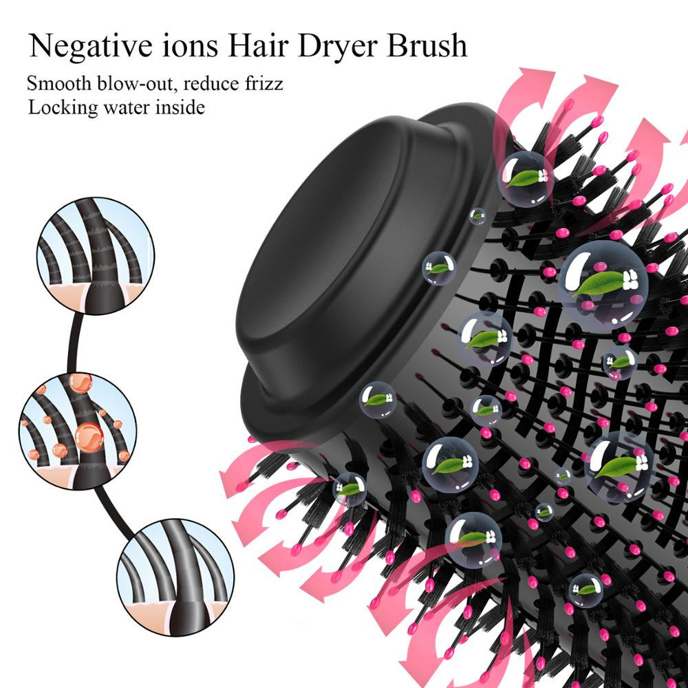Dropshipping 2 IN 1 One Step Hair Dryer Hot Air Brush Hair Straightener Curler Comb Electric Blow Dryer brush hair styling tools enlarge