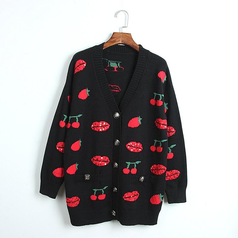 1101 2020 осенний свитер Бесплатная доставка с v-вырезом и длинным рукавом, Кинт черный, белый цвет с пайетками модная женская одежда, размер S m L ...