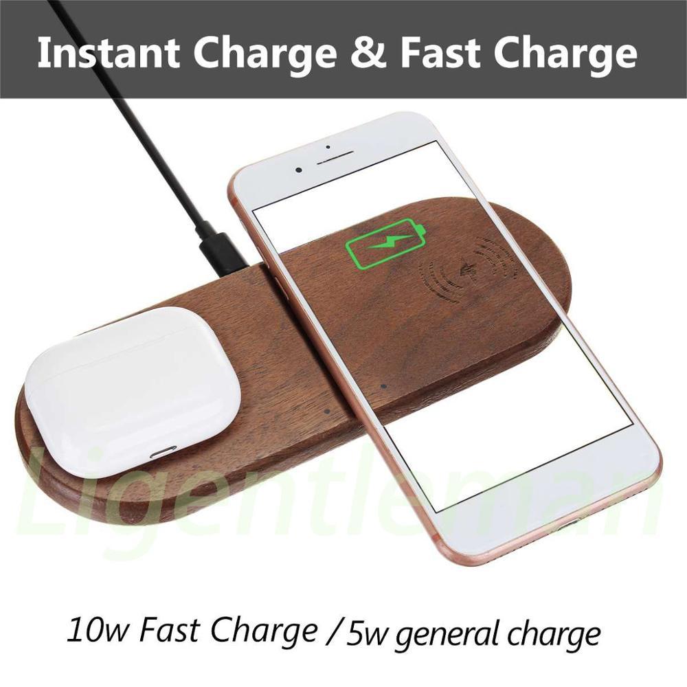 Cargador inalámbrico de madera nogal dos en uno para Apple iPhone 8 Plus X, cargador de teléfono inalámbrico para Samsung S6 S7 S9 S8