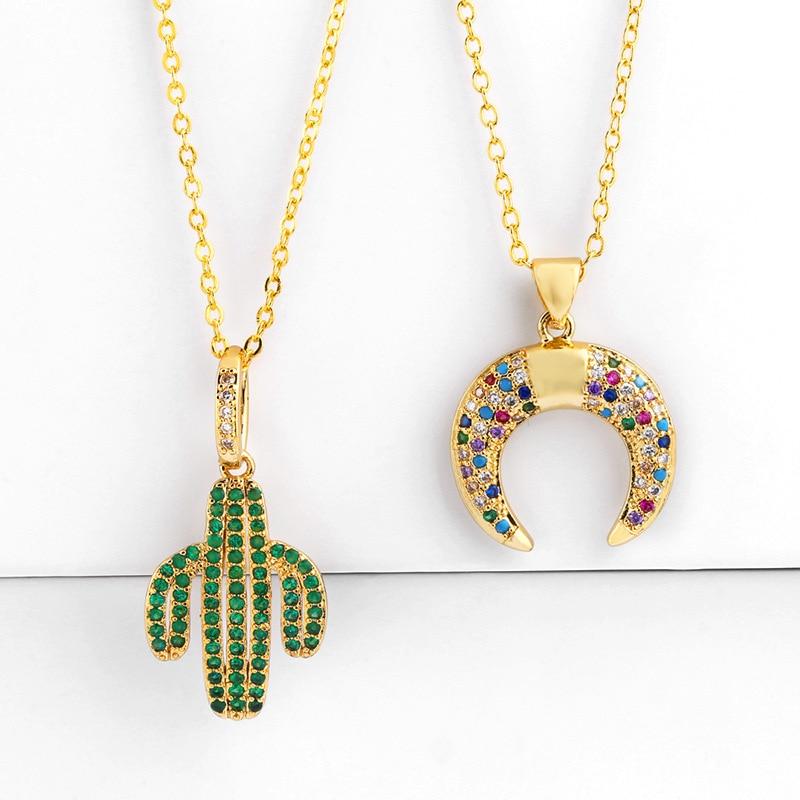 COLLAR COLGANTE de cuerno de Cactus, gargantilla de oro para mujer, cadena de Zirconia cubica arcoiris, Luna pavimentada, joyería de lujo, collares, delicado encanto