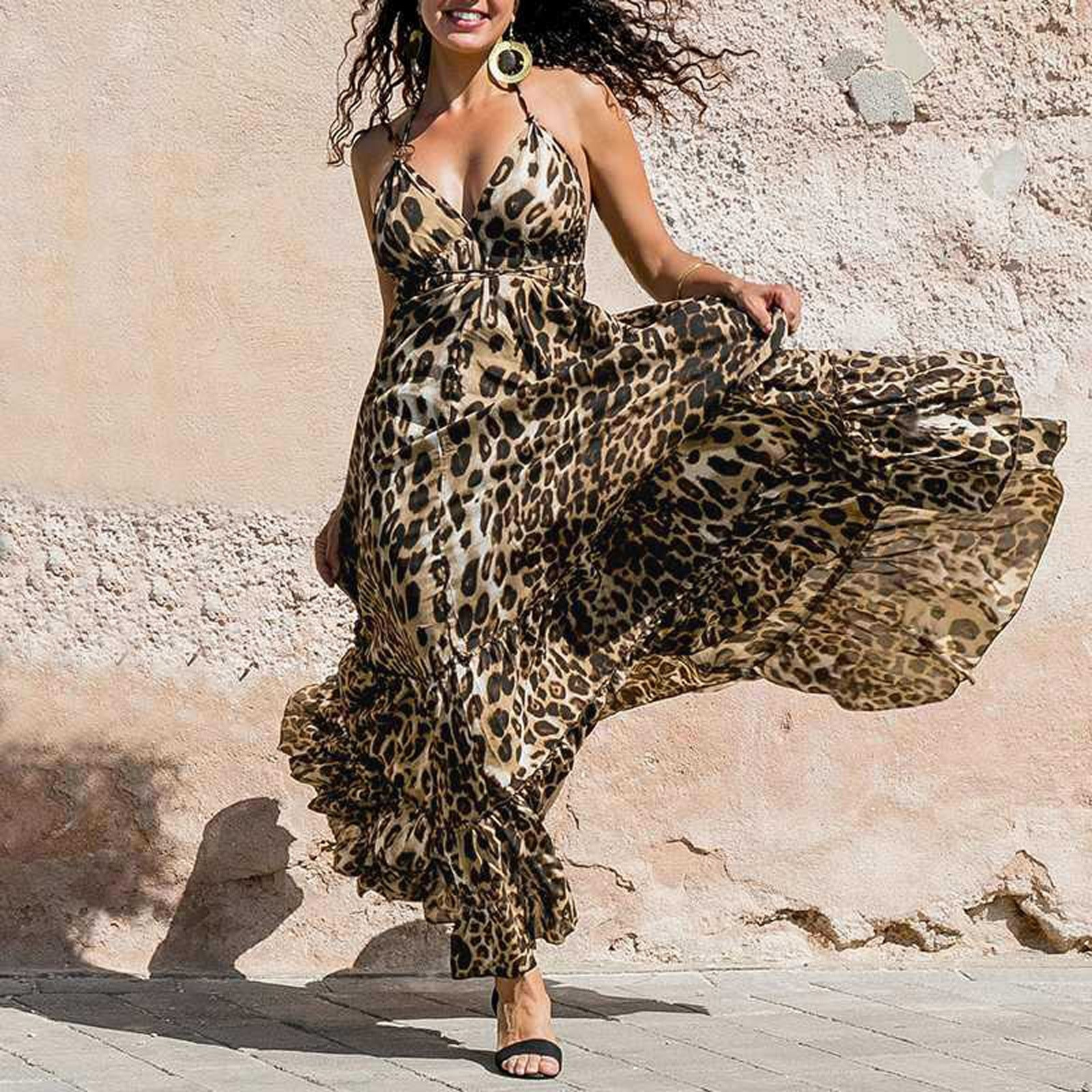 AliExpress - Women's Dress Leopard Printed V-Neck Sleeveless Sling Long Dress Summer Fashion Casual Ladies Sexy Tube Top Dresses 2021 New