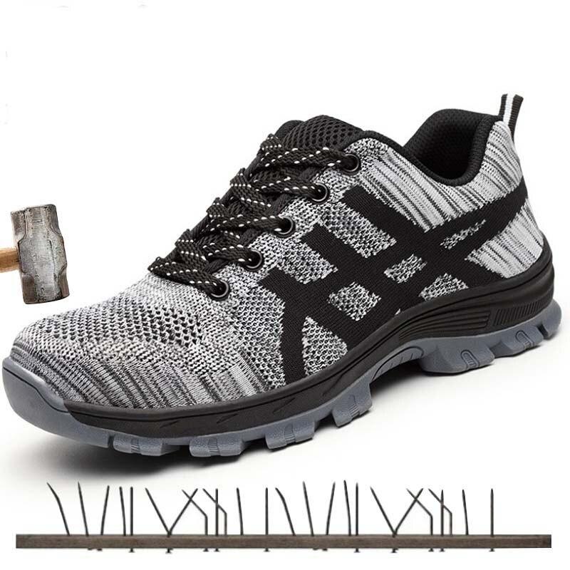 أحذية أمان الصلب تو الرجال موضة مكافحة تحطيم أحذية عمل رجالية أسود تنفس حذاء رياضي مُريح أحذية industrial ales