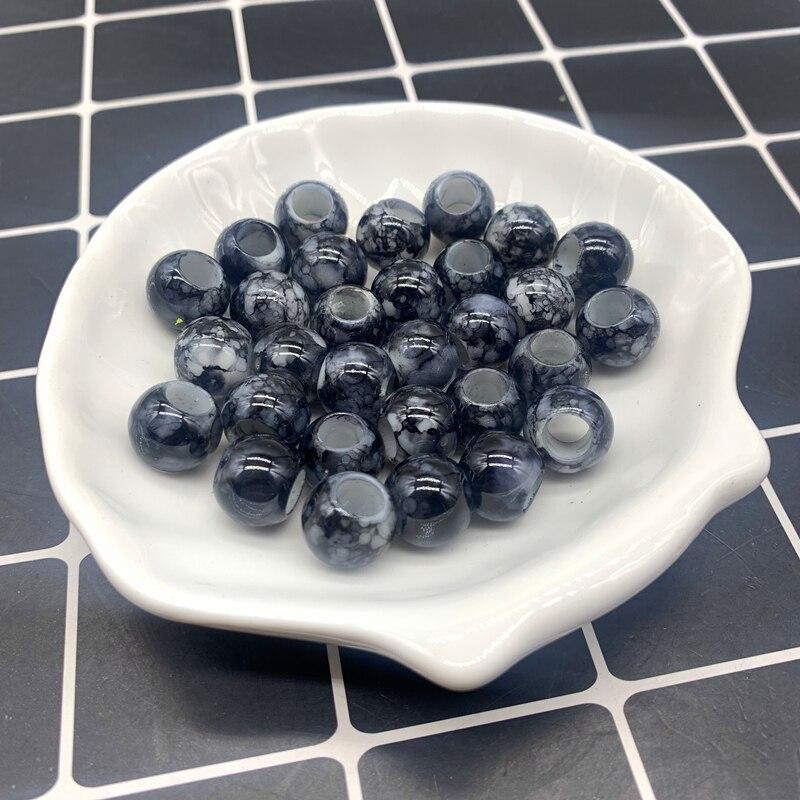 30 pces 12x10mm preto grande buraco redondo contas acrílicas para fazer jóias diy acessório colar fazer jóias