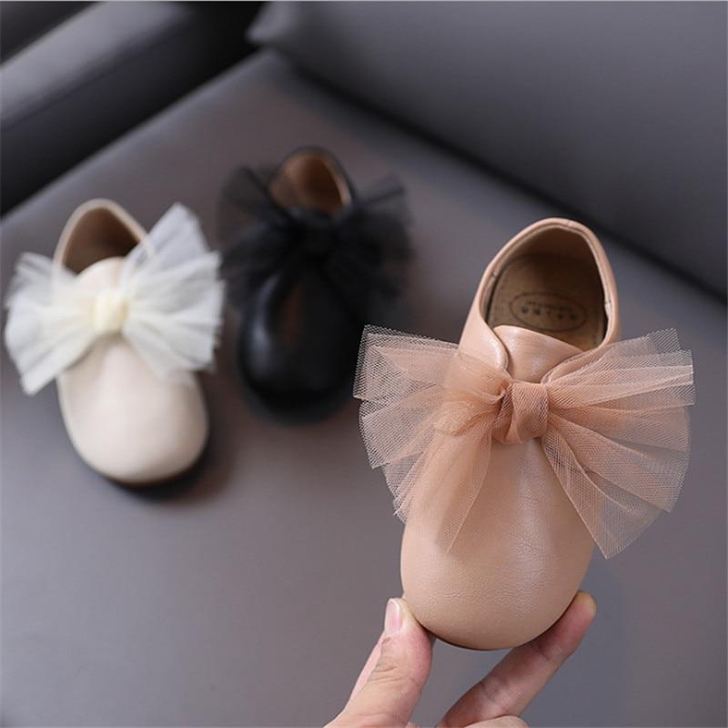 جديد الربيع الاطفال أحذية للبنات الجلود صافي الغزل القوس عقدة الفتيات الأميرة أحذية لينة أسفل لطيف موضة طفل رضيع الأحذية
