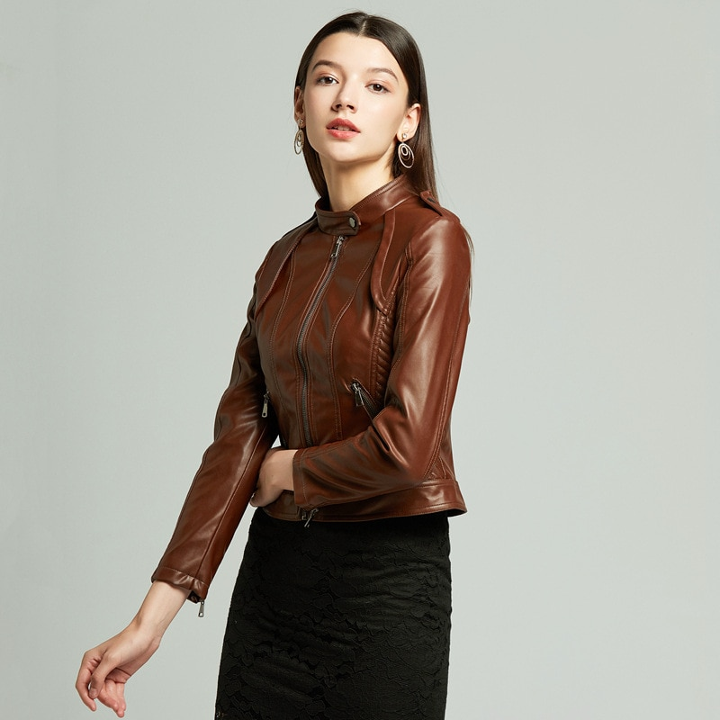 Women's leather clothes, women's leather jacket, slim fitting small coat, women's coffee motorcycle coat