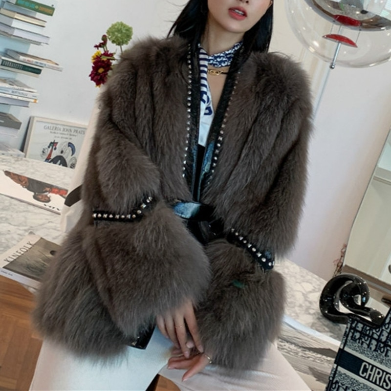 New Arrival Luxury Brand Designer Real Fox Fur Coat Women Genuine Leather Jacket Studded Winter Warm Lady Overcoat Outwear