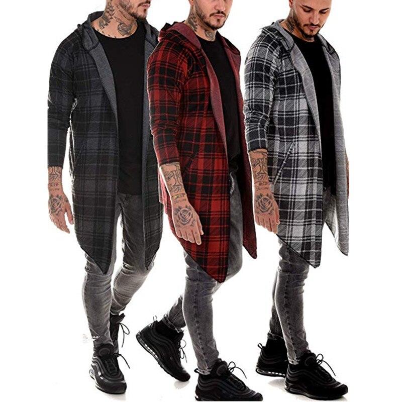 Men's fashion new 2019 printed hoodie cape casual digital print large plaid striped coat cape