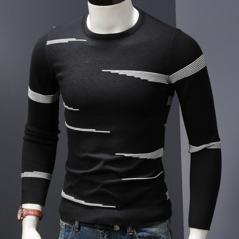 Модный черный свитер, Мужской Зимний пуловер с геометрическим рисунком, мужской Облегающий Свитер оверсайз с длинным рукавом и круглым выр...